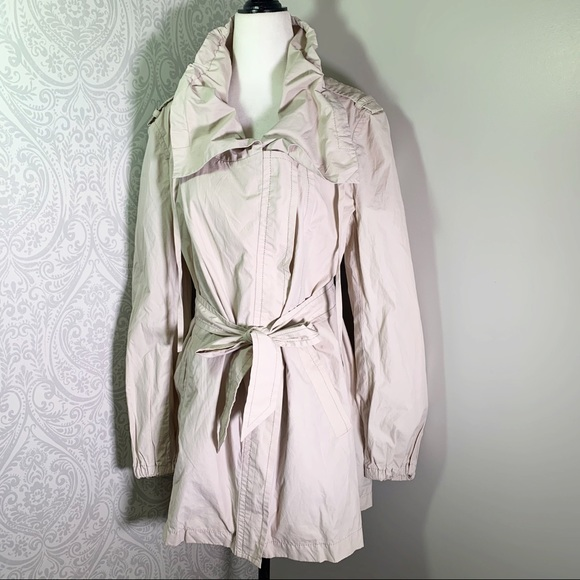 Ann Taylor front zip, cowl collar trench.